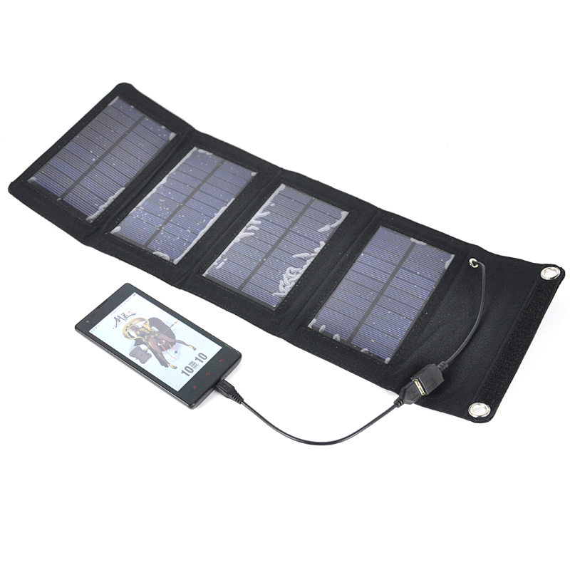 Boruit 7W Solar Power Charger Portable Fold Solar Panel Waterproof Outdoor Camping Power Bank Charger for Mobile Phone iPad Lamp