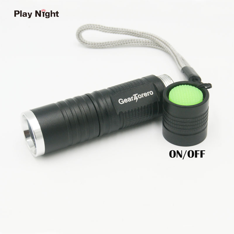 PLAY NIGHT C20-2  XML-T6 Mini LED Flashlight Zoomable Adjustable Focus  Penlight Torch Black