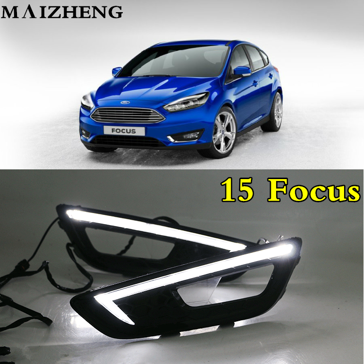Turn signal and dimming style Relay 12V LED Car DRL daytime running lights with fog lamp hole for Ford Focus 4 2015 2016 2017