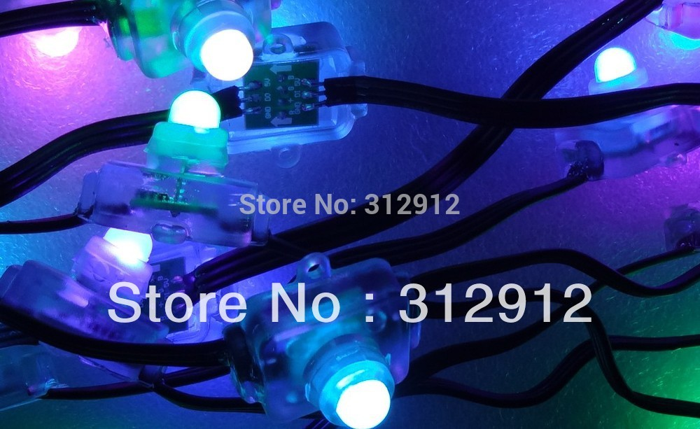 50pcs DC5V input WS2811 LED pixel light,with all black wire,IP68 rated