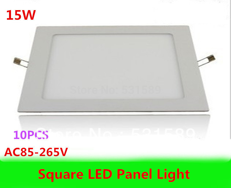 DHL Wholesale 10pcs/Lot 15W Led Panel Light AC85-265V Square Led ceiling Light 1200lumens,For Home Garden Party Living Bed Room