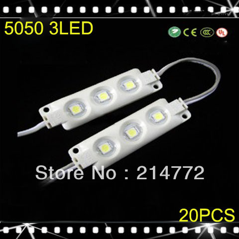 20pcs/lot,  DC12V IP65 0.72W 3 5050 smd plastic injection led pixel module white/warm white led channel letter signs