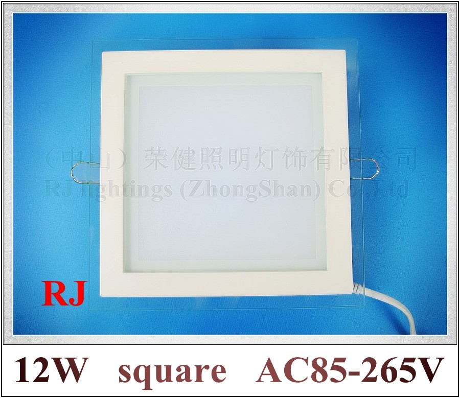 new style glass+aluminum+PMMA  square LED panel light 12W 900lm  160mm * 160mm * 35mm AC85-265V CE white/warm white