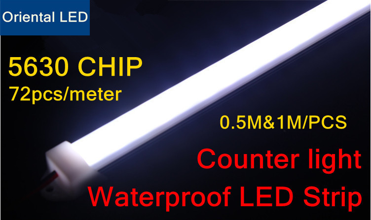 2014 new! led rigid strip DC12V 5630 72pcs/meter super bright waterproof shell beads jewelry counter lamp with aluminum tank