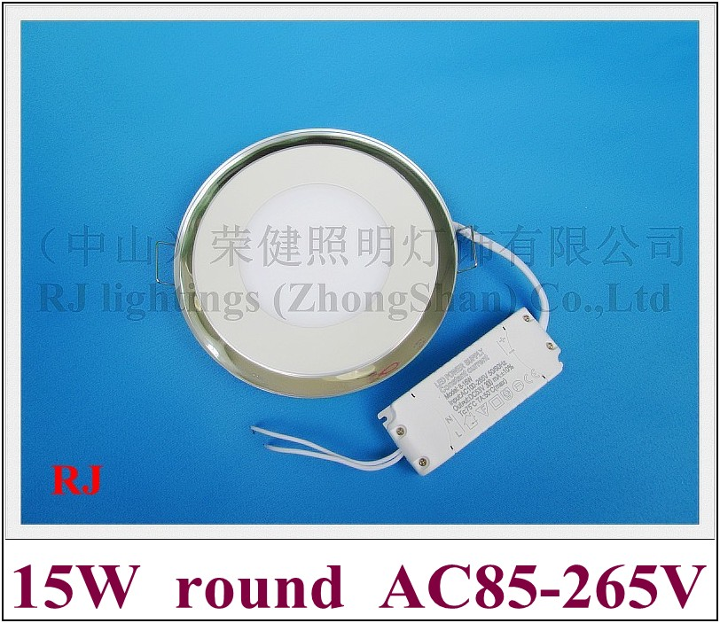 New Acrylic ultra thin with glass round LED panel light lamp LED ceiling light 15W(12W+3W) SMD 5730 + SMD 3528  blue frame