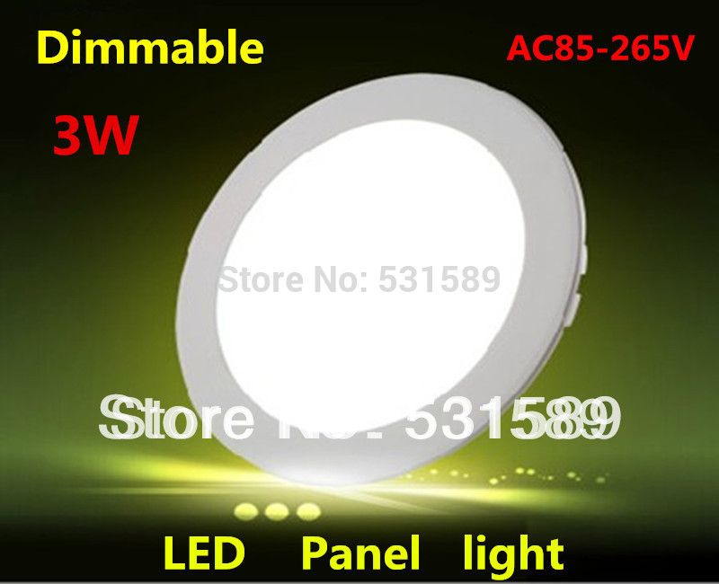 Wholesale 50pcs AC85-265V 170LM Frosted Cover Round Shape 3W Ceiling Mini LED Dimmable Panel Light with Power adapter