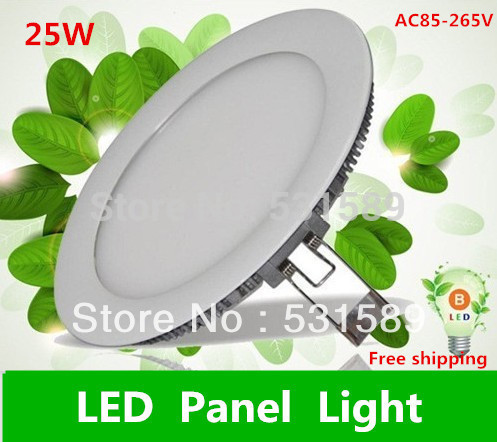 Super thin 25w 10PCS LED Panel Lights /ceiling lighting /High brightness Round  light  2835 SMD  Cold white AC85-265V
