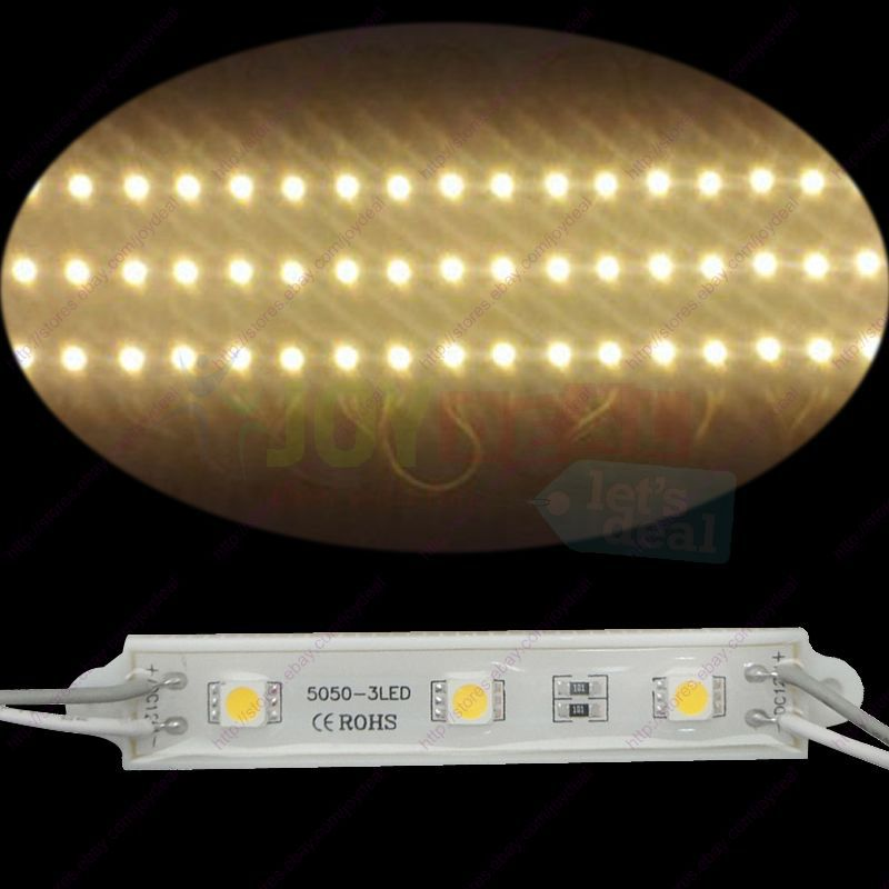 20pcs Waterproof DC12V Super Bright Warm White 7512 5050 3SMD LED Module Strings Channel Sing Letter
