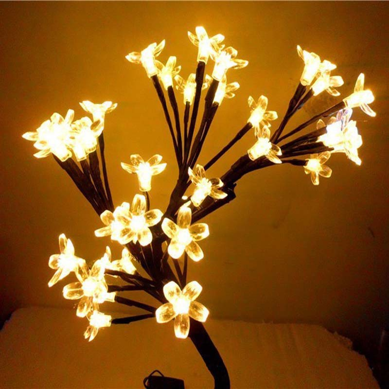 Led Crystal Cherry Blossom Tree Christmas Desk Table Lamps Night