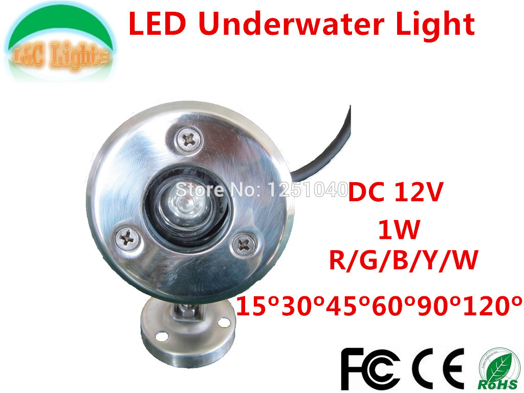1W Single color Long bright LED underwater lights,DC12V IP68 Waterproof Outdoor Lighting,Red Green Blue Yellow White 4PCs a lot