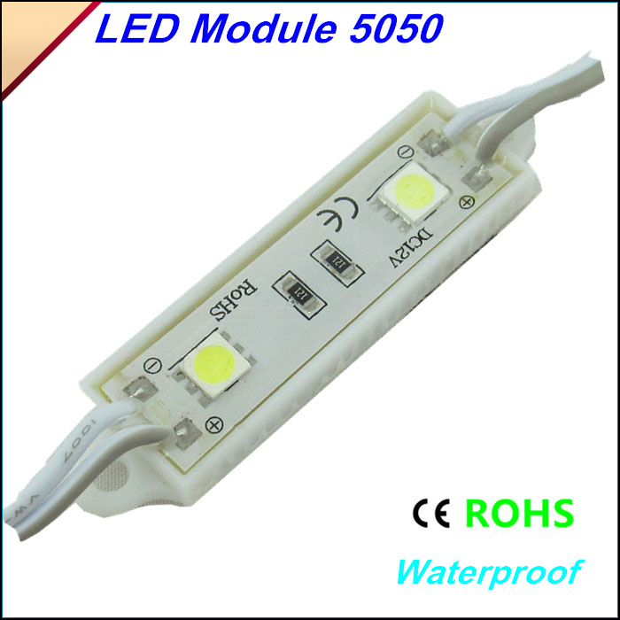 20PCS 5050 2 LEDs Module DC12V waterproof advertisement design led modules lightsRed/Blue/Yellow/White/Green colors Freeshipping