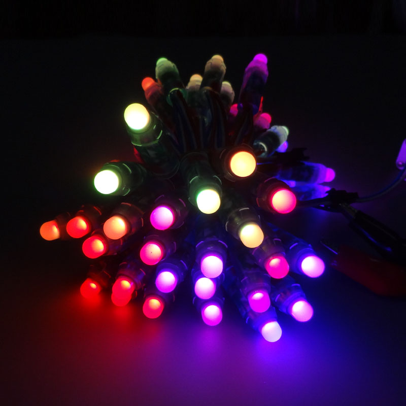 LED Lighting Modules 12mm led lumineuse luces DC5V full color 50pcs WS2801 pixel string waterproof rgb led module