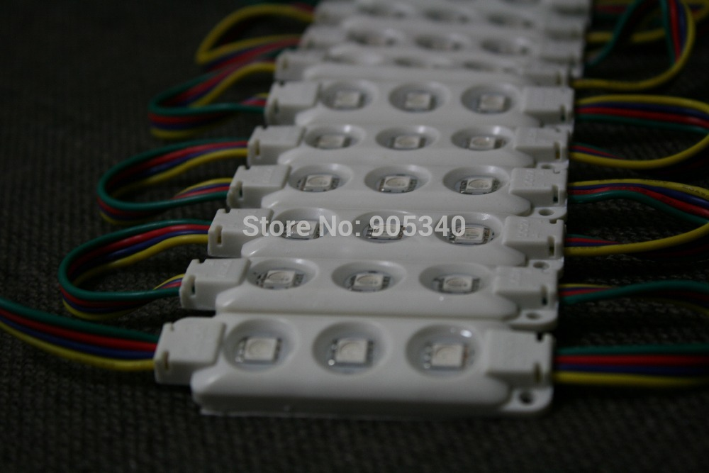 20pcs/lot 5050 RGB 3leds injection led module ,epistar chip,12V,0.75w,cool white, RGB led module 2 years warranty ,CE ROHS