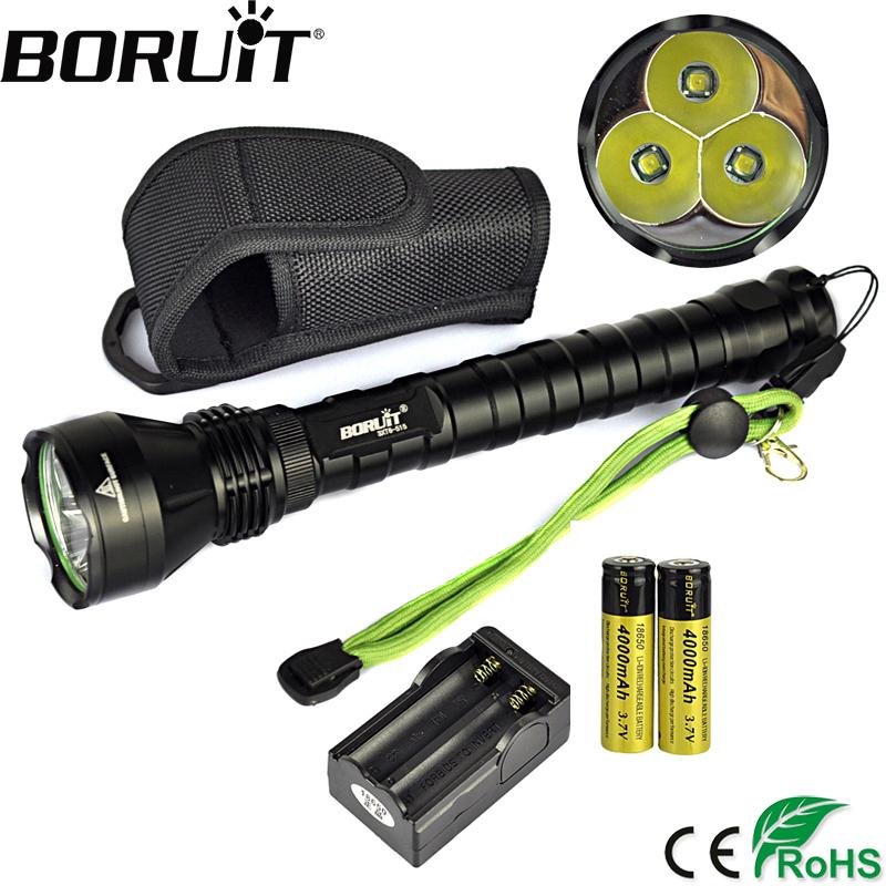 BORUiT 4000LM XML T6 LED Tactial Flashlight 5-Mode Flash Light Super Bright Torch Lamp ...