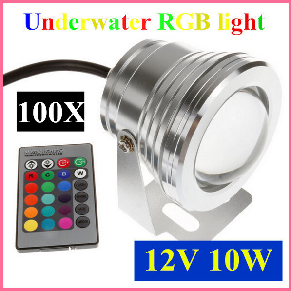 100pcs 10W 12v underwater RGB Led Light 800LM Waterproof IP68 fountain pool Lamp 16 color change with 24key IR Remote controller