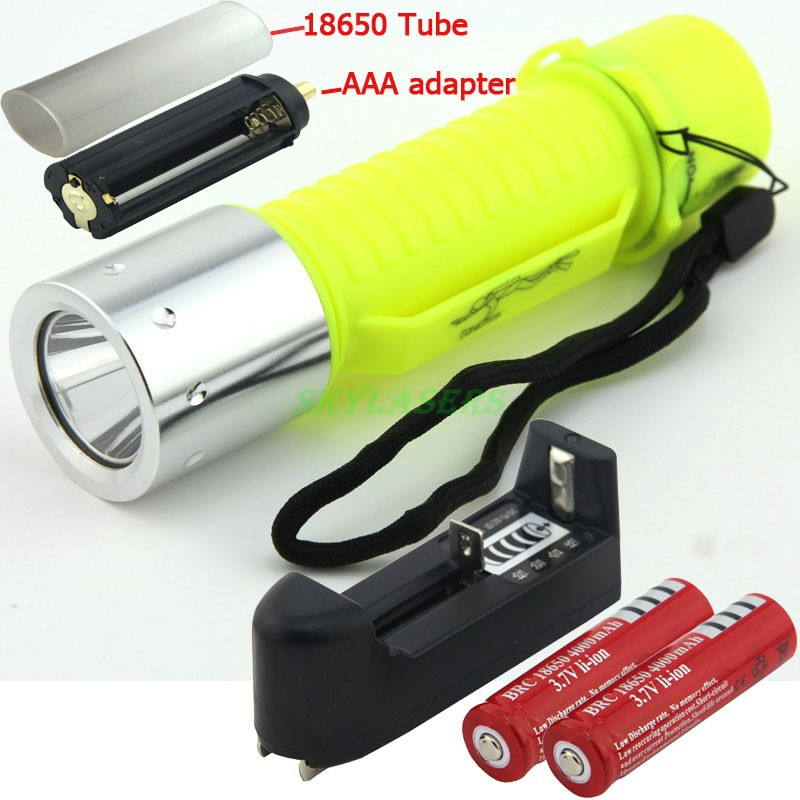 CREE XM-L T6 LED Diving Waterproof Underwater Flashlight Lamp Torch 3 Mode super T6 LED 2000LM + 2*18650 Batteries + Charger