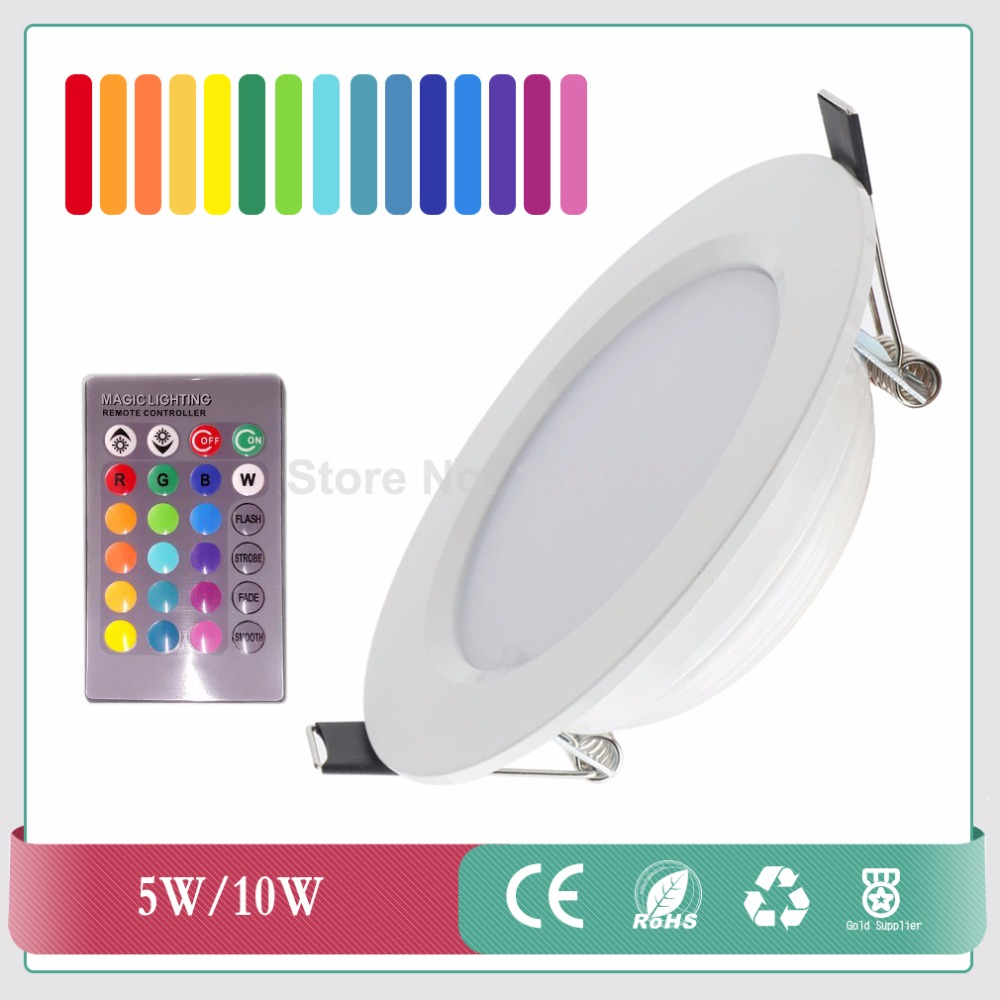 Round Shape High Power Epistar 5W 10W RGB LED Panel Light With Remote Control Downlight Led ceiling down AC85-265V + Driver