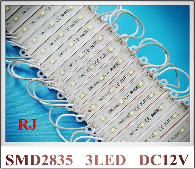 SMD LED backlight LED module lightings 0.3W SMD 2835 3led 3*0.1W epoxy waterproof 75(L) * 12(W) * 6(H) 40lm 1000pcs/box
