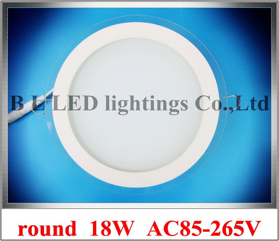 with glass round recessed LED panel light lamp 18W LED ceiling light SMD5730 18W 36 led high bright CE & ROHS approved