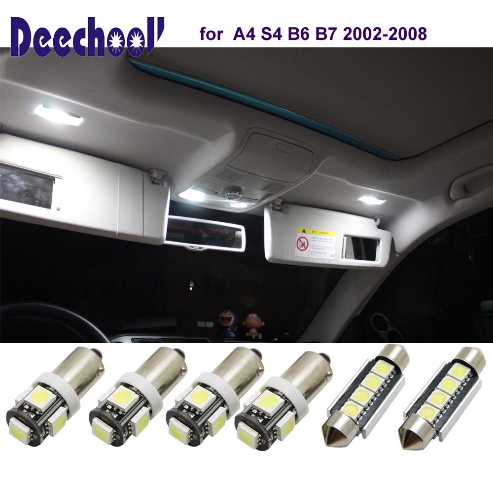 deechooll 6pcs Car LED Light for Audi A4 S4 B6 B7, Cold White Interior Lighting Bulbs for Audi A4 S4 02-08 Dome Reading Lights