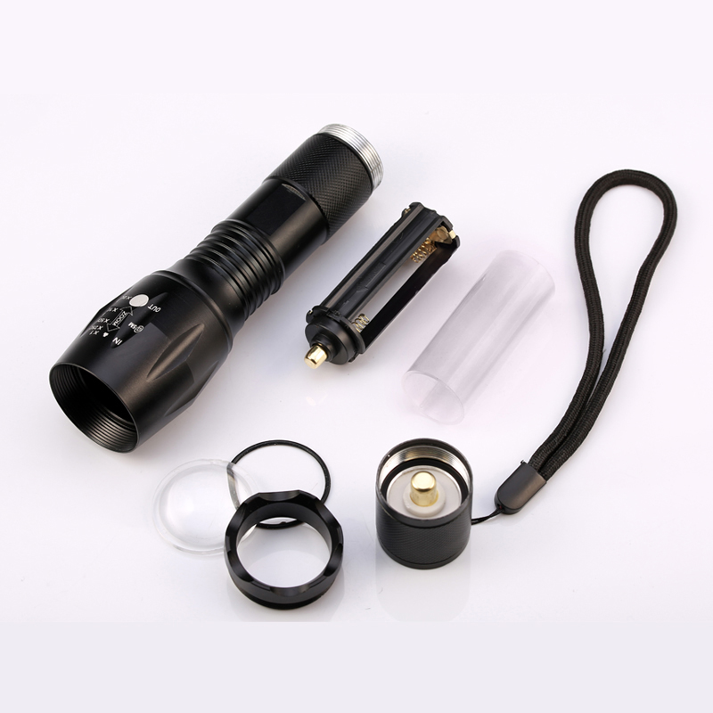 LED CREE XM-L2 Flashlight 6000lm Tactical Flashlight High Power Torch Zoomable Lantern + 1*18650 Battery+Charger+Holster Holder
