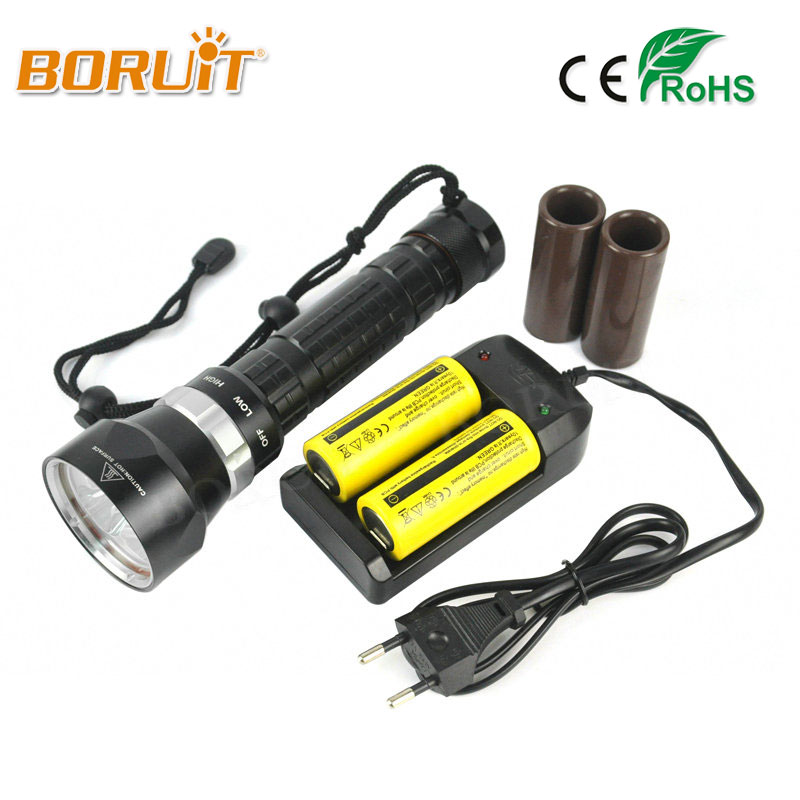 BORUIT 5000LM Diving Flashlight Underwater 100M 3x XML L2 LED Waterproof Light Lamp Lanterna Diving Torch+Charger&26650 Batetry