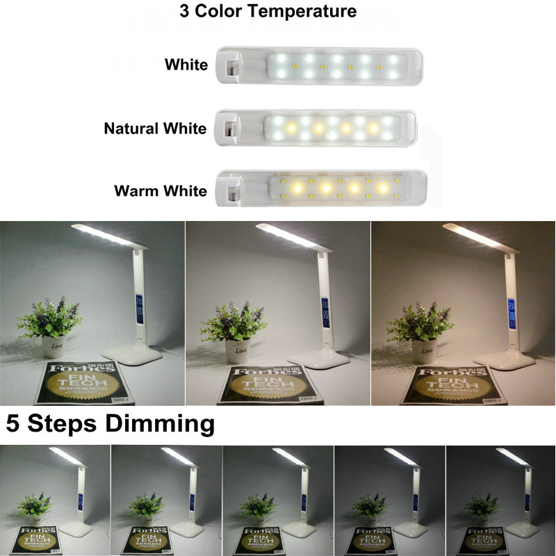 5 Level dimmer 3 color temperature LED Eyes Protection Touch Switch Desk Lamp With Calendar Temperature function