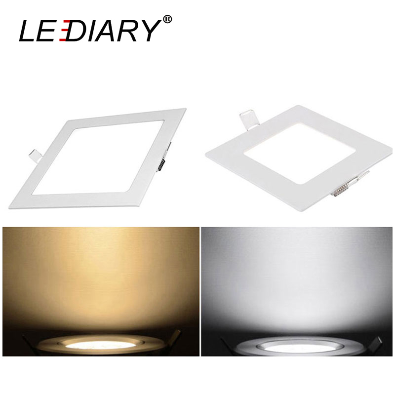 LEDIARY LED Square Ultra Thin Panel Light Rcessed Downlight/Ceiling Lamp 220V Indoor Living Room High Bright With Clamp