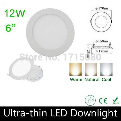 10 pcs/lot Ultra thin design 12W LED panel light round LED Recessed ceiling light natural white for home lighting Via DHL