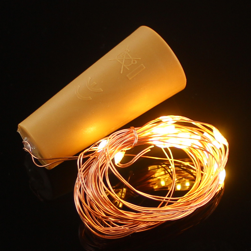 2m 20-LED Copper Wire String Light with Bottle Stopper for Glass Craft Bottle Valentines Wedding Decoration string Night lights