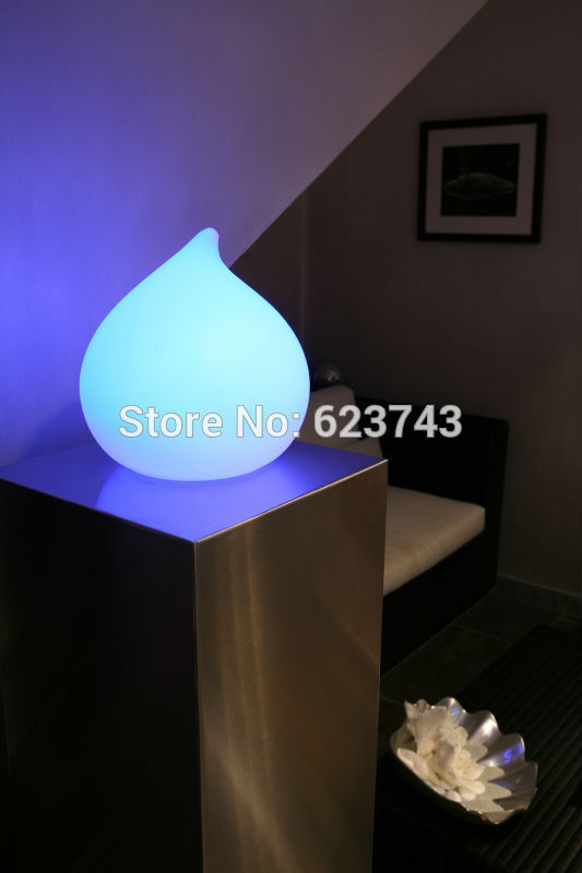 Remote Control Cordless Dew Led Round Water Drop Light Mood Rechargeable Waterproof Table