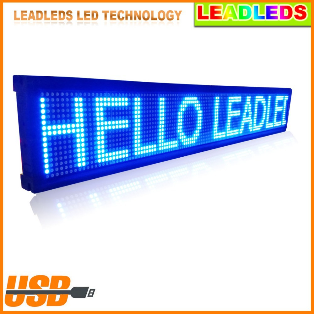 "USB Programmable Scrolling Electronic Sign 30"" X 6.3"" Indoor LED Display Board Moving Message LED Display Outdoor Advertising"