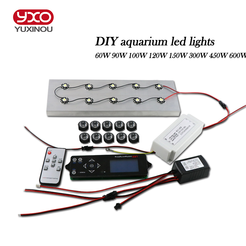DIY Sunrise Sunset Wireless dimmable 60w Led aquarium light with LCD timer Programmable Remote Coral Reef Led aquarium Lighting