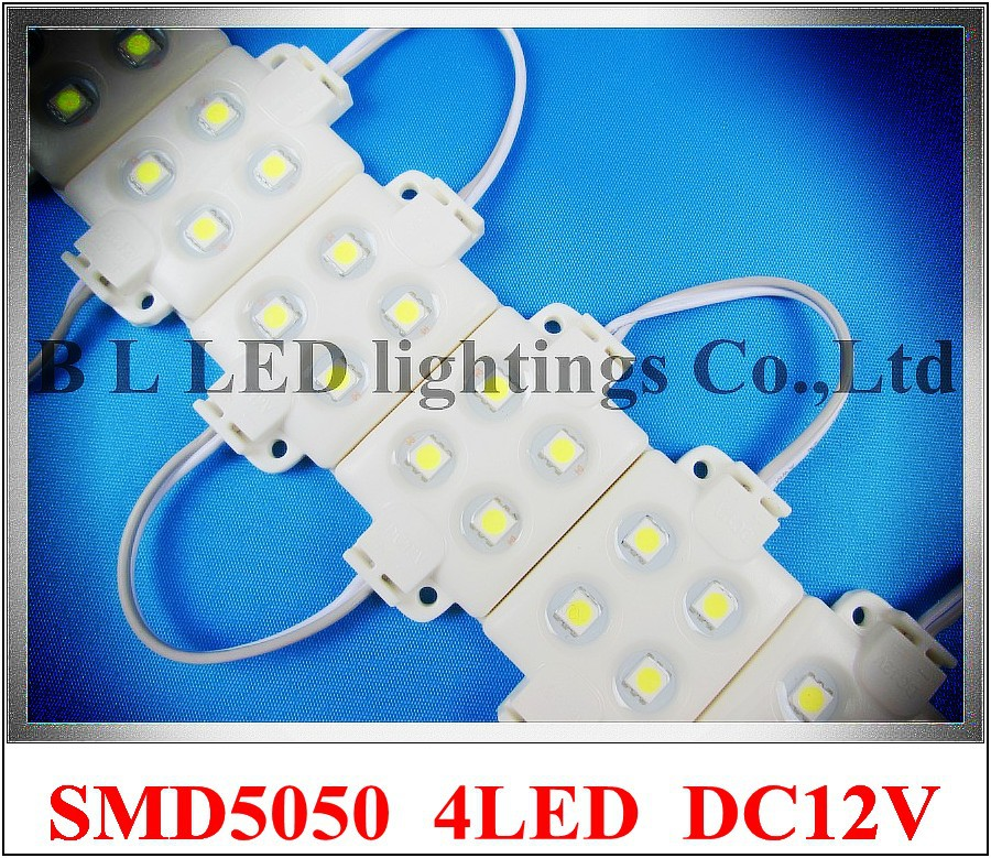 super quality high bright injection LED module waterproof SMD 5050 LED advertising light module DC12V 0.96W 4 led IP66