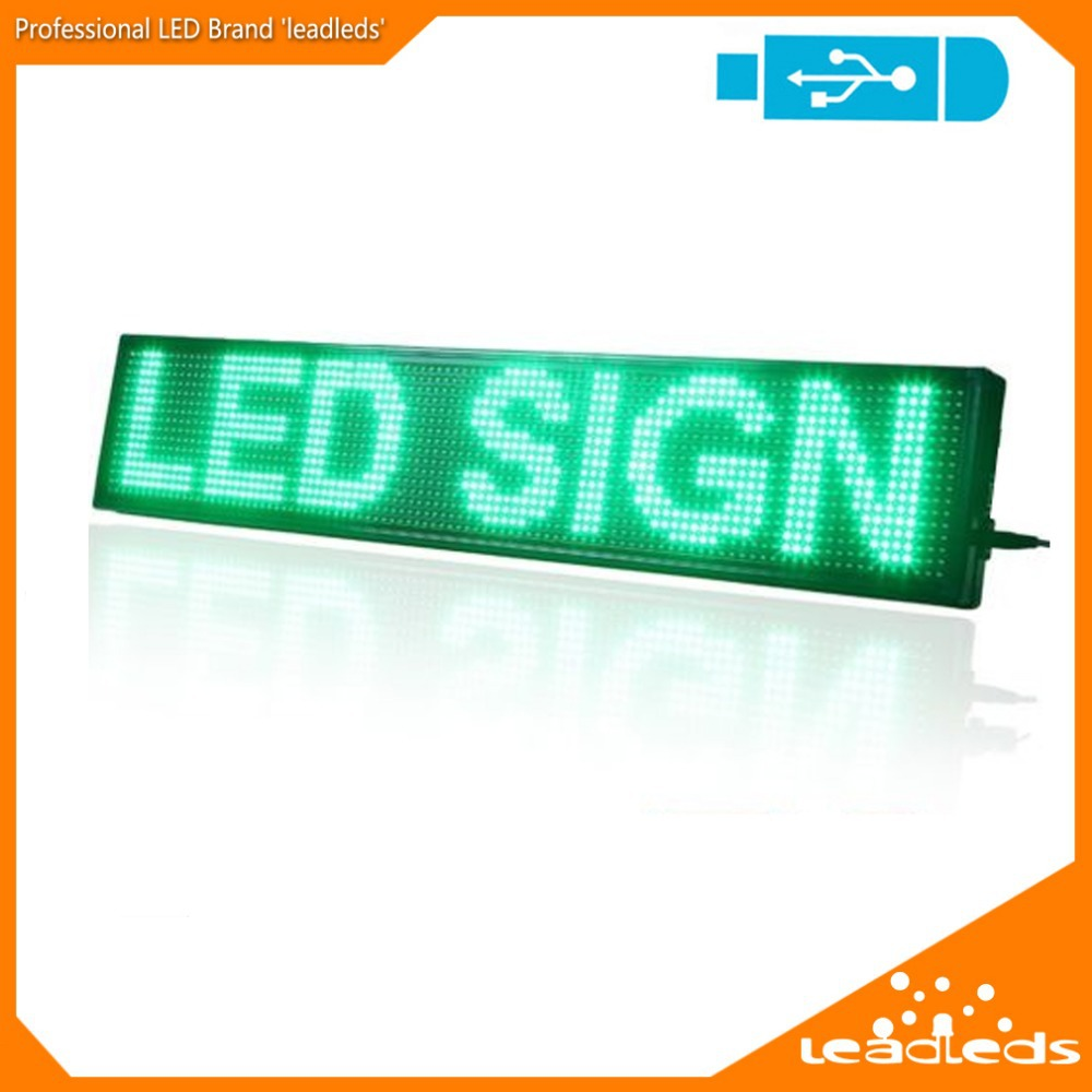 Indoor DIP P10 LED Sign Green Color Program Message Scrolling Display board
