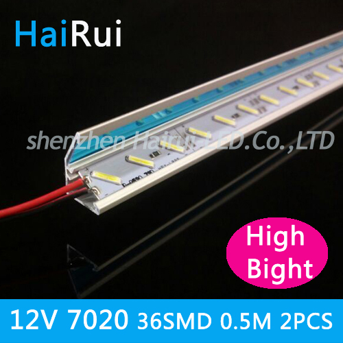 2pcs*50cm Factory wholesale High bright 50CM DC 12V 36 SMD 7020 LED Hard Rigid LED Strip Bar Light +Reflective V aluminium
