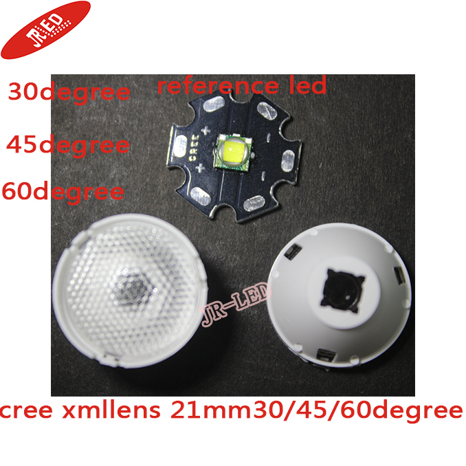 10 pcs 30 45 60 Degree 21mm Reflector Collimator LED Lens For Cree T6 U2 XML XM-L LED Lights