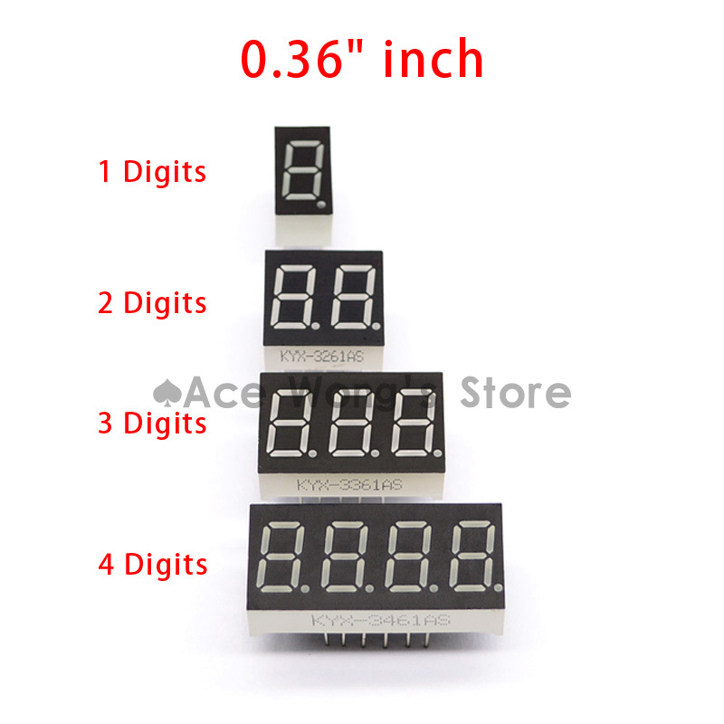 "Big Sale!!! 20pcs 1 / 2 / 3 / 4 bit (5pcs per size) Common Cathode Positive Digital Tube 0.36"" 0.36in. Red LED Display 7 Segment"
