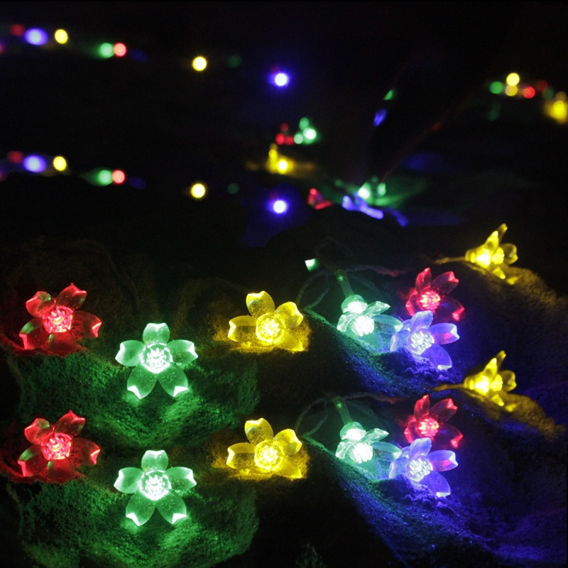 LED Crystal Cherry Flower String Light Holiday Lighting Lamps Garland Garden Party Wedding Christmas Luminaria Decoration