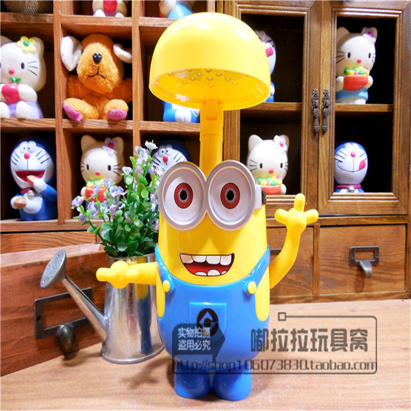 Small yellow people piggy bank children creative cartoon LED desk lamp primary school students charge eye learning bedside night