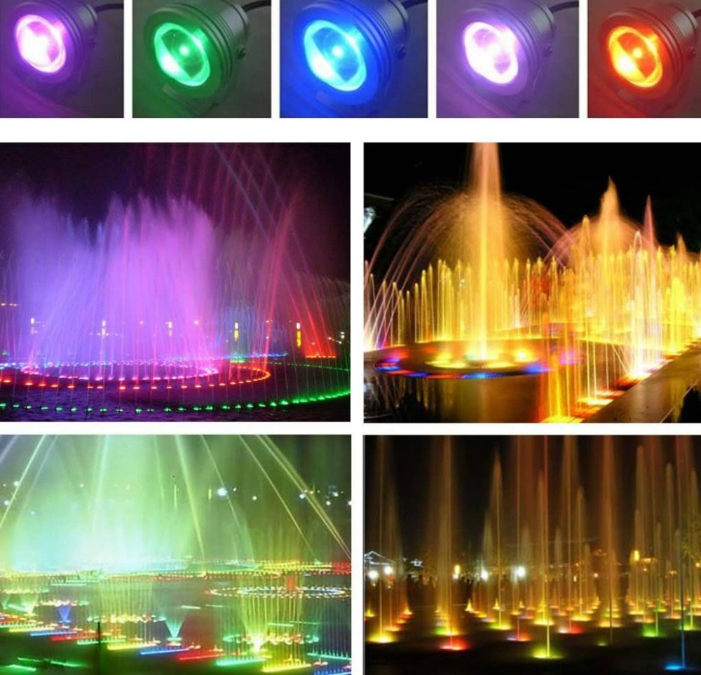 LED Underwater Spot Light 10W RGB 12V Colorful Garden Pool Pond Lamp +IR Control