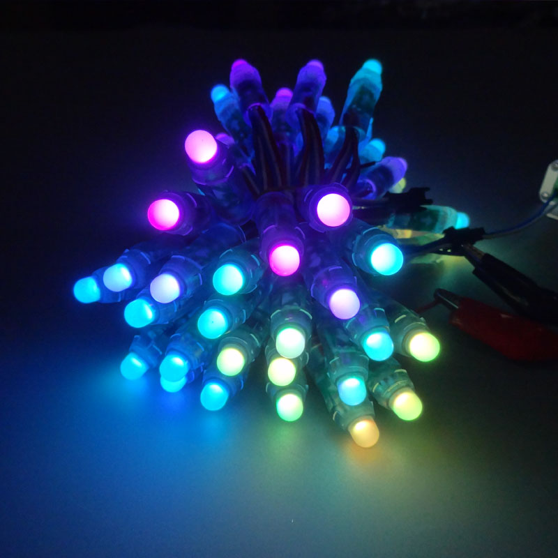 50pcs/lot DC5V/12V input WS2811 pixel module,12mm black/green Wire led string;Chrismas tree;waterproof with 3pin JST Connectors