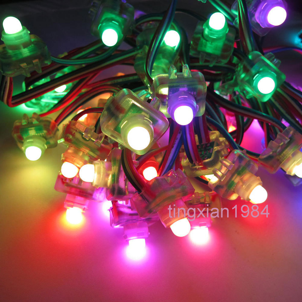 50pcs 12mm WS2811 2811 Square T1515 Diffused Digital RGB LED Pixel String IP68 DC 5V