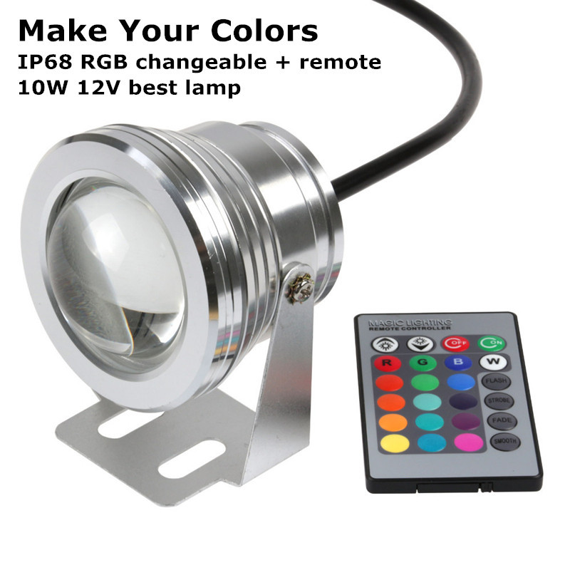 Waterproof 12V 10W IP68 RGB Underwater LED Light for Swimming Pool Pond Aquarium 16 Colors Change With IR Remote