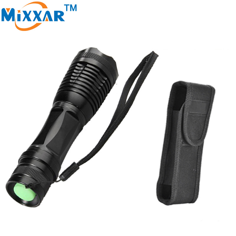 zk30 e17 CREE XM-L T6 8000 Lumens High Power LED torch flashlight Focus lamp Zoomable light with a portable sleeve