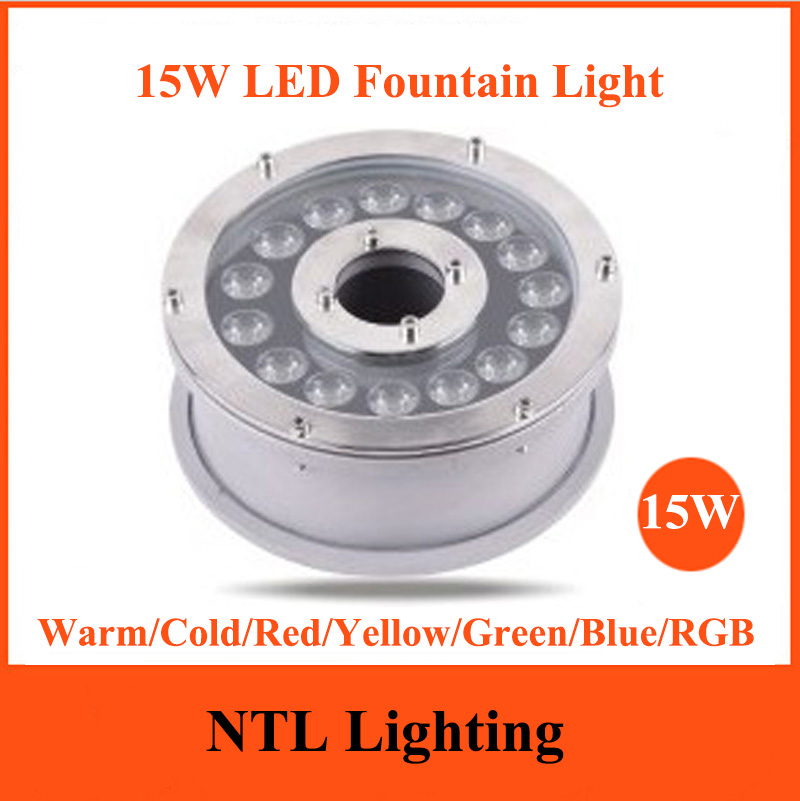 New 15W LED Fountain light IP68 waterproof lamp underwater lights AC/DC 12V 24V for Swimming Pool Pond Fish Tank Aquarium Park