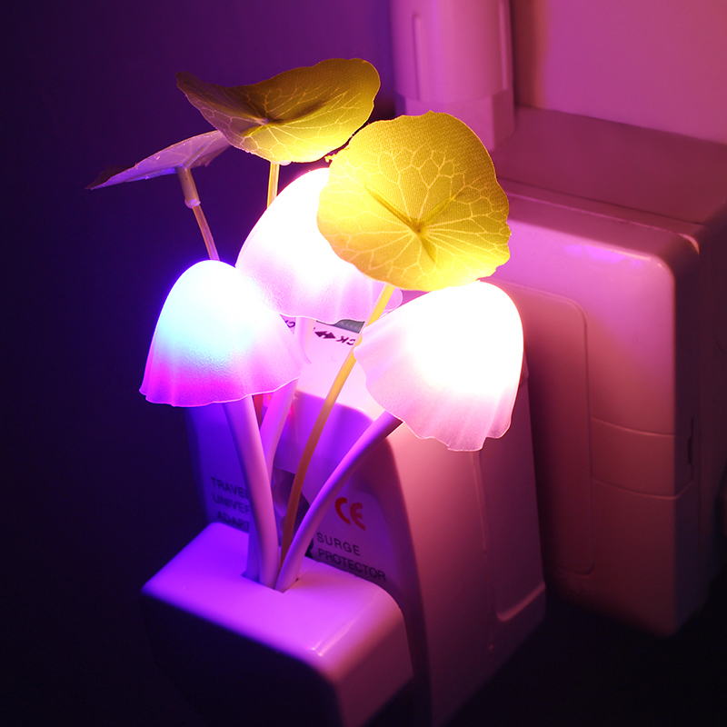 Novelty US & EU Plug Night Light Induction Dream Mushroom Fungus LED Lamp 3 LEDs Mushroom Lamp led night lights Luminaria
