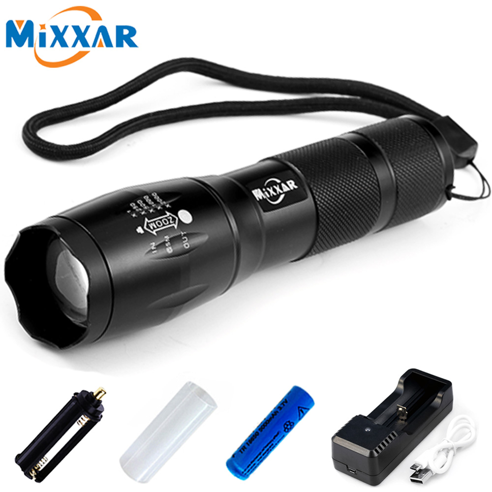 Mixxar E17 XML-T6 4000LM Aluminum 5 Modes Zoomable CREE LED Flashlight LED Torch Light for AAA or 18650 Rechargeable Battery