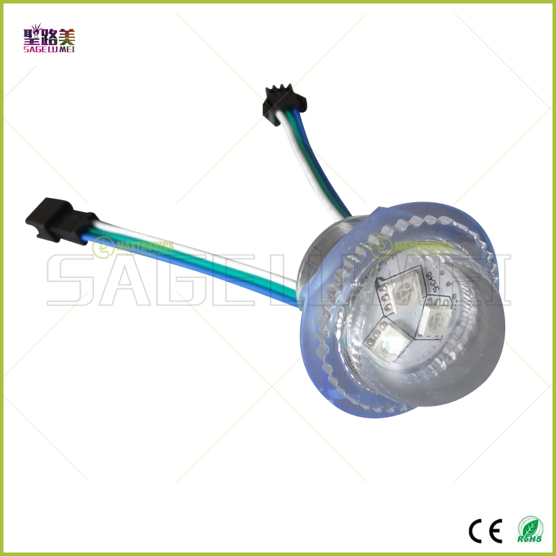 30pcs DC12V WS2811 LED Module Exposed Point Light 3 leds 5050 SMD RGB Chips waterproof IP67 diameter 26mm  transparent cover