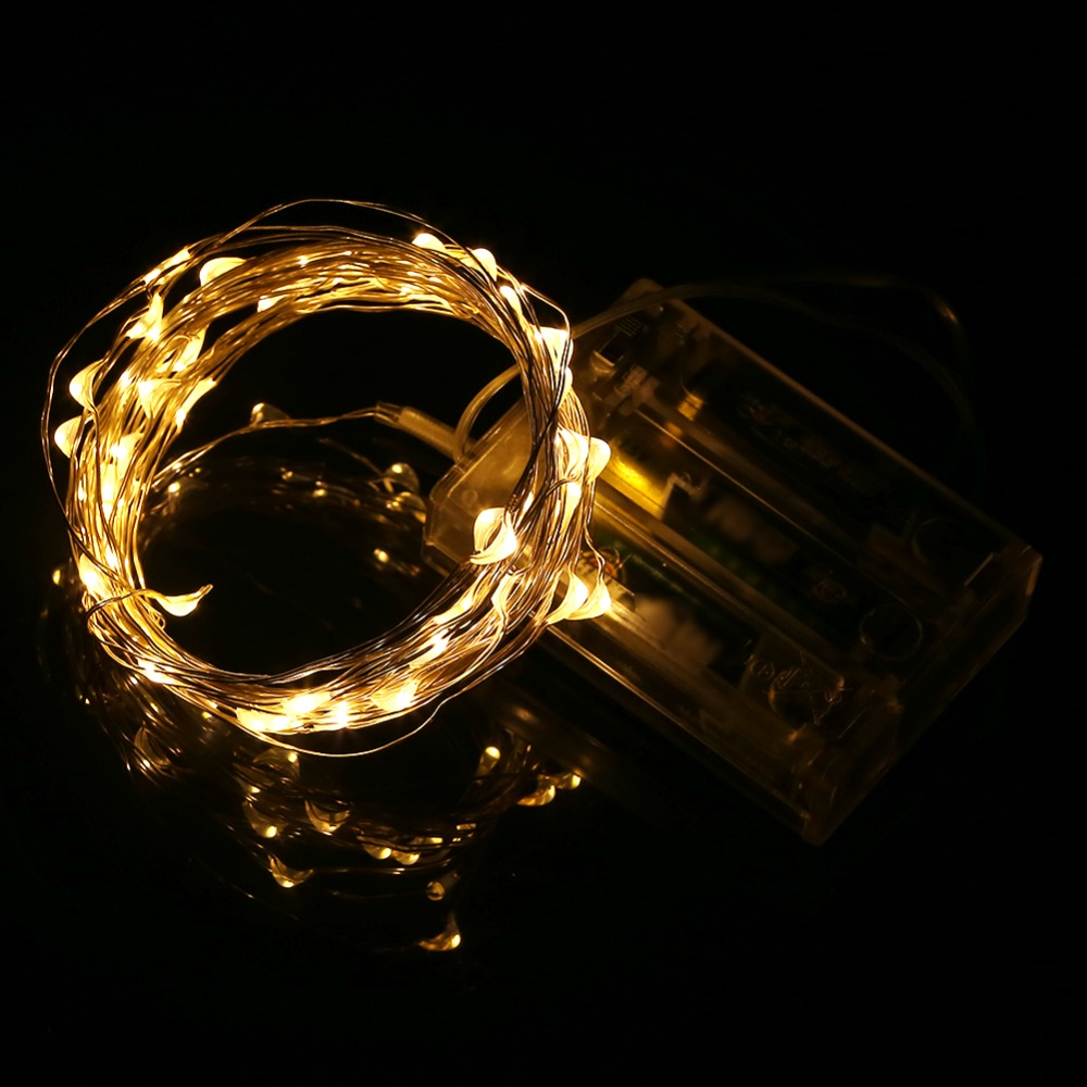 5M 50leds LED String Light Silver Wire DC4.5V 3XAA Battery Operated Fairy Lights Christmas New Year Wedding Decoration Lights